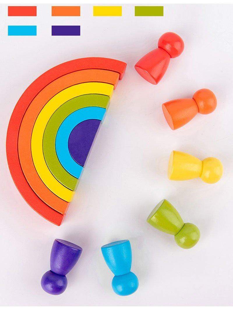 Montessori Rainbow Stacking Blocks - lionthelabel - learning resources - -
