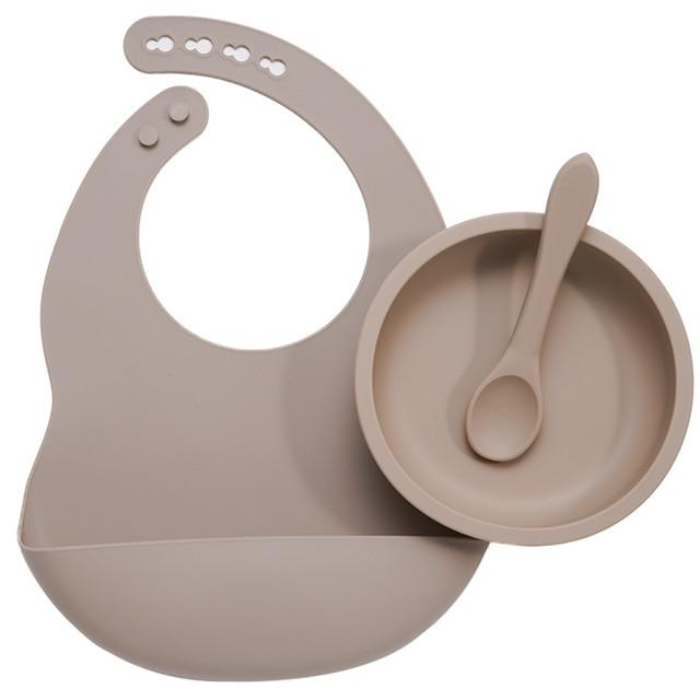 Nature SIlicone Bibs + Suction Dish & Spoon set- BPA Free - lionthelabel - Feeding - Taupe - -