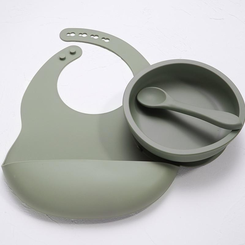 Nature SIlicone Bibs + Suction Dish & Spoon set- BPA Free - lionthelabel - Feeding - Deep Grey - -