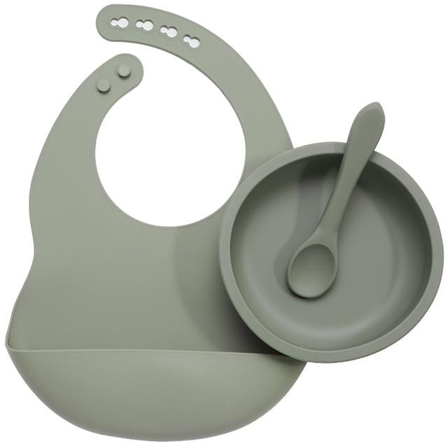 Nature SIlicone Bibs + Suction Dish & Spoon set- BPA Free - lionthelabel - Feeding - Sage - -