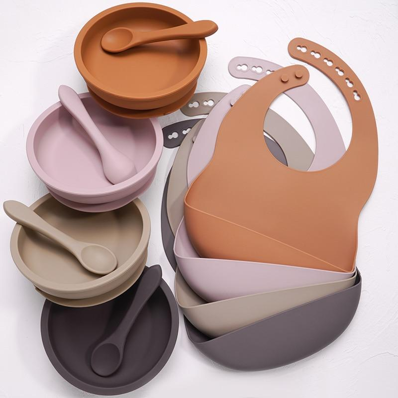 Nature SIlicone Bibs + Suction Dish & Spoon set- BPA Free - lionthelabel - Feeding - Spiced Pumpkin - -