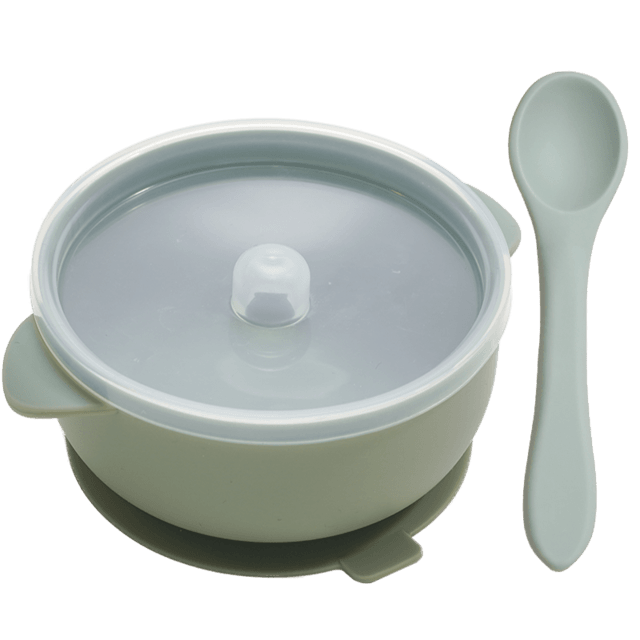 Nosh Silicone Bowl and spoon - lionthelabel - Feeding - Stone - -