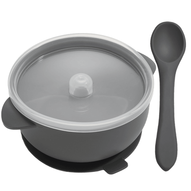 Nosh Silicone Bowl and spoon - lionthelabel - Feeding - Dark grey - -