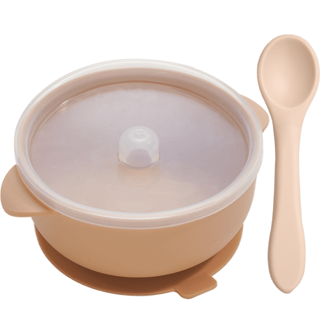 Nosh Silicone Bowl and spoon - lionthelabel - Feeding - Apricot - -