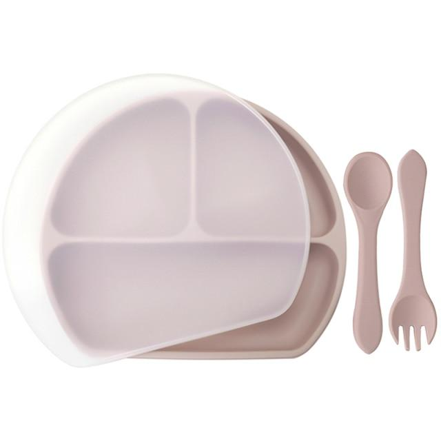 Waterproof and Heat Insulation Silicone Kids Divided Plates With Lid w/ Fork and Spoon - lionthelabel - Feeding - 007 light pink - -