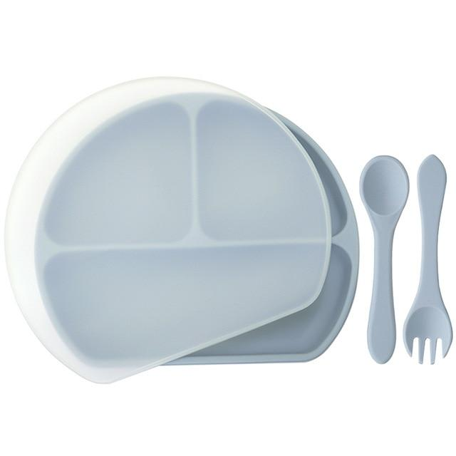 Waterproof and Heat Insulation Silicone Kids Divided Plates With Lid w/ Fork and Spoon - lionthelabel - Feeding - Dusty Blue - -
