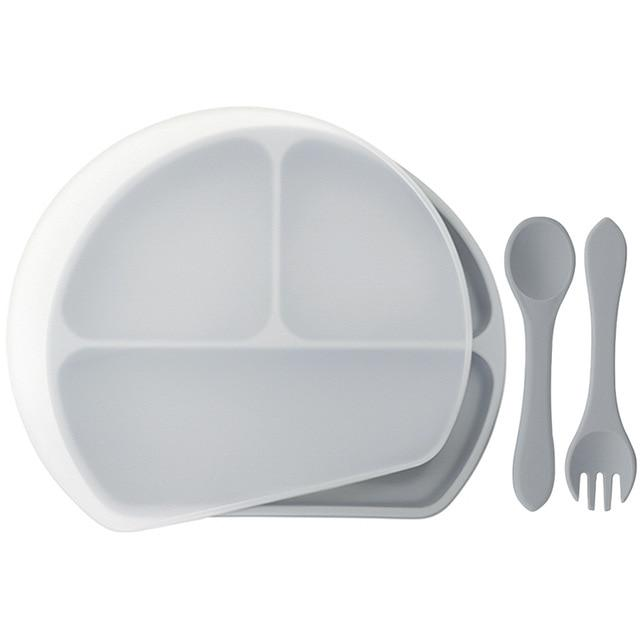 Waterproof and Heat Insulation Silicone Kids Divided Plates With Lid w/ Fork and Spoon - lionthelabel - Feeding - Light Gray - -