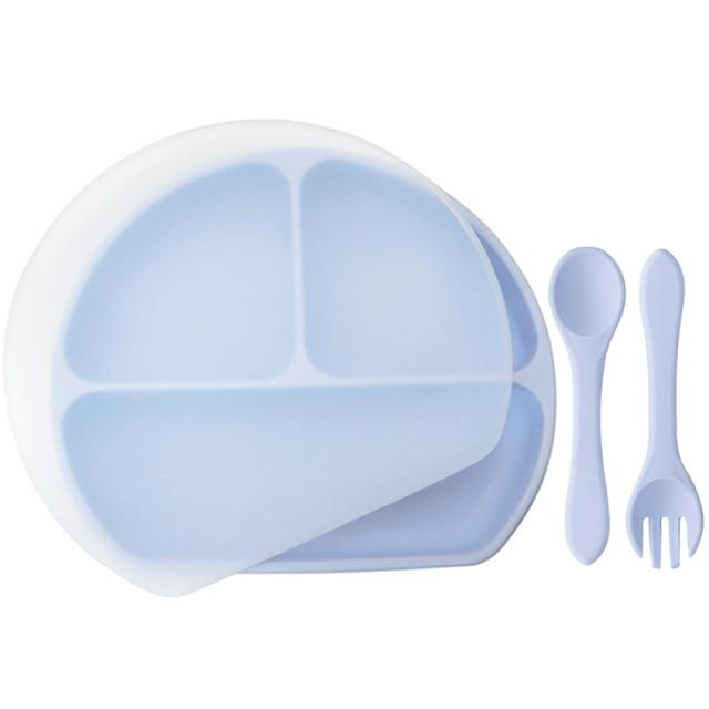 Waterproof and Heat Insulation Silicone Kids Divided Plates With Lid w/ Fork and Spoon - lionthelabel - Feeding - Light Purple - -