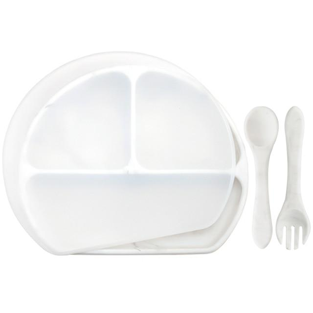 Waterproof and Heat Insulation Silicone Kids Divided Plates With Lid w/ Fork and Spoon - lionthelabel - Feeding - Marble - -
