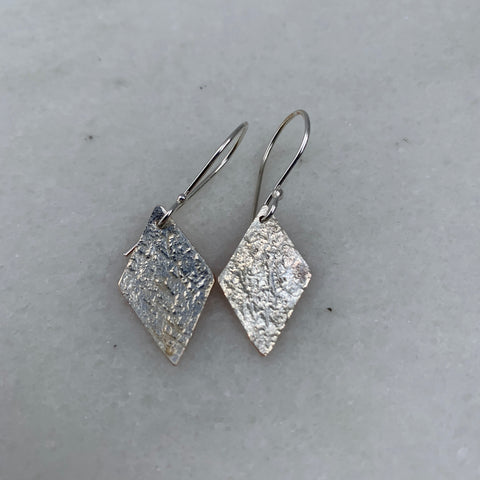diamond shaped earrings silver fused to copper