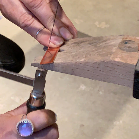 sawing rectangles from copper sheet