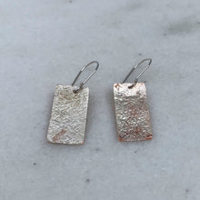 Load image into Gallery viewer, Rectangular Dangle Earrings / Mixed Metal Earrings