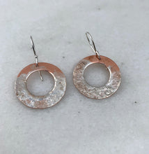 Load image into Gallery viewer, Copper and Silver Textured Earrings