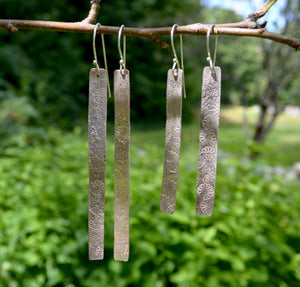 Long Dangle Earrings / Silver on Copper Earrings