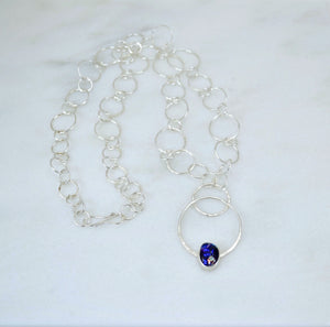 Purple Dichroic Glass and Silver Link Necklace