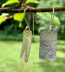 Rectangular Dangle Earrings / Mixed Metal Earrings