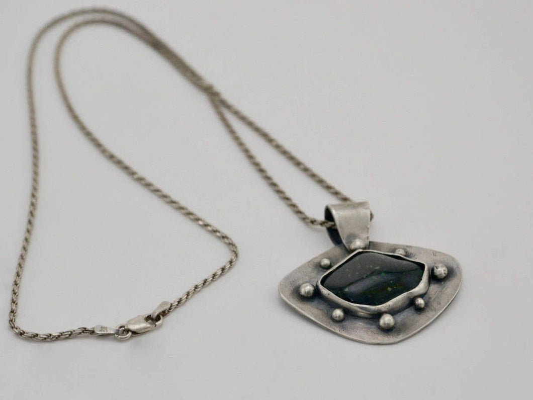 Green Goldstone and Silver Pendant Necklace