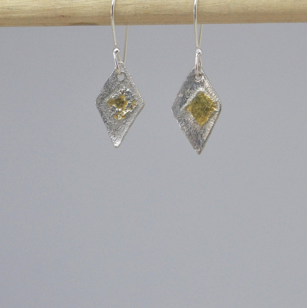 Diamond Shaped Silver and Gold Mixed Metal Earrings