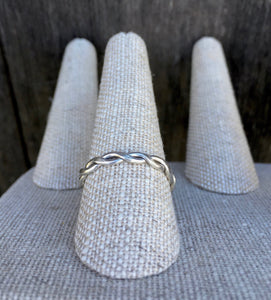 Simple Braided Silver Ring Thick