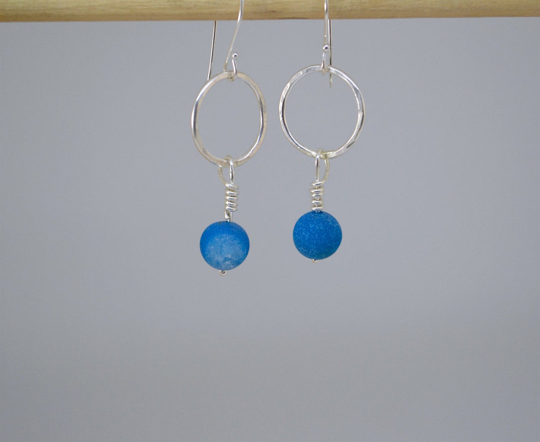 Silver and Blue Agate Druzy Bead Dangle Earrings
