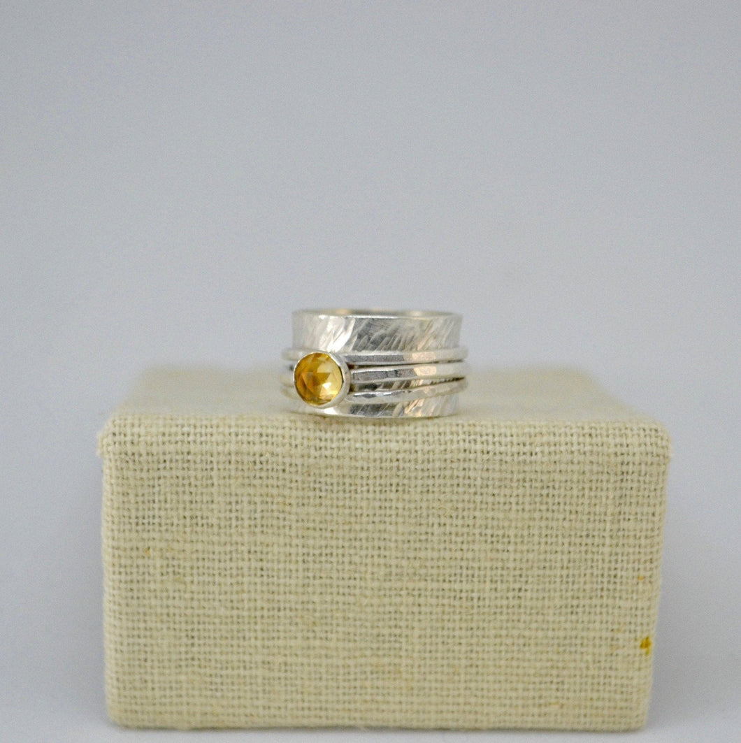 Wide Band Citrine Silver Spinner Ring