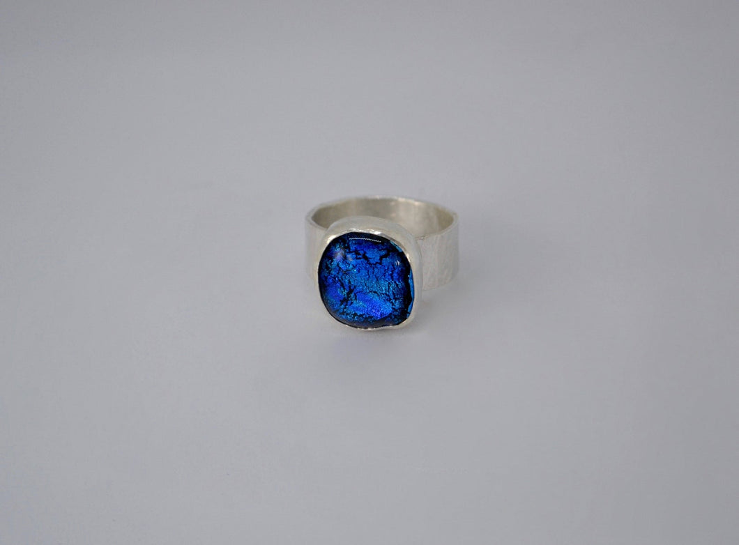 Blue Dichroic Glass Chunky Silver Ring