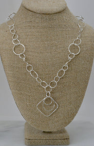 Geometric Silver Link Necklace