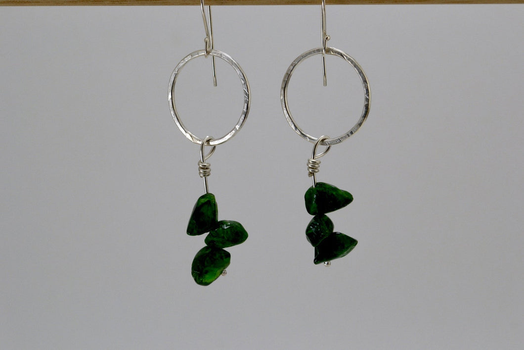 Silver and Emerald Bead Dangle Earrings