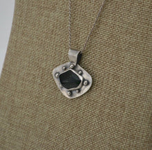 Load image into Gallery viewer, Green Goldstone and Silver Pendant Necklace