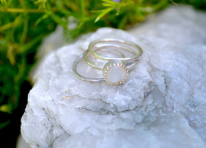 Mother of Pearl Silver Stacking Ring