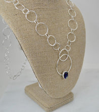 Load image into Gallery viewer, Purple Dichroic Glass and Silver Link Necklace