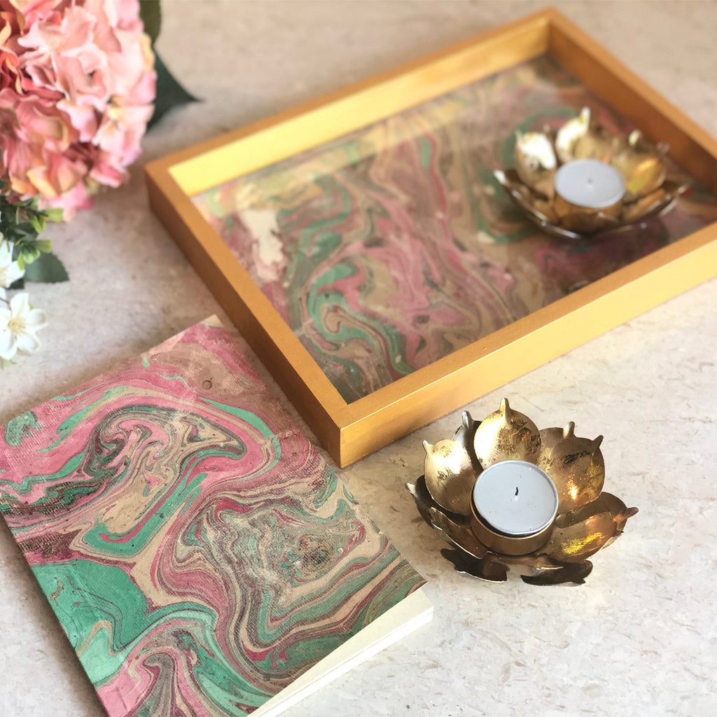 marble tray hamper for diwali gifting