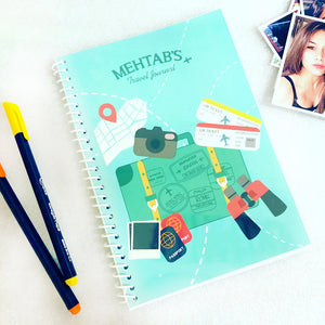 Travel themed customised notebook