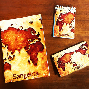 world map themed customised notebook