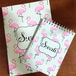Load image into Gallery viewer, pretty flamingo themed customised notebook