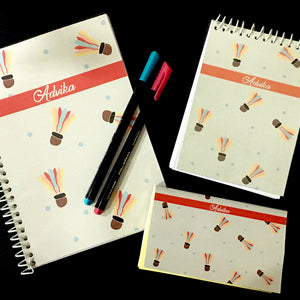 badminton themed customised notebook