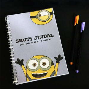 minion themed customised notebook