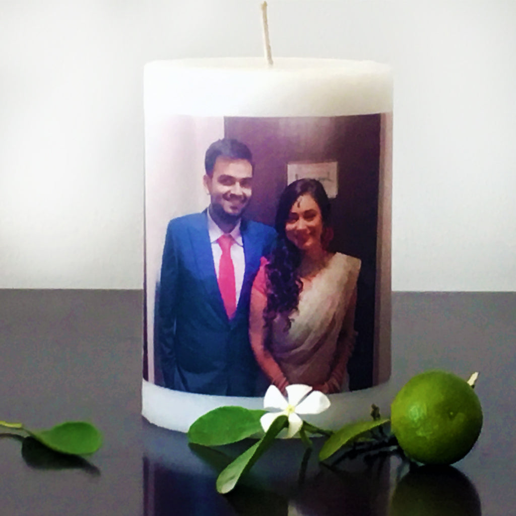 couple's gift photo candle