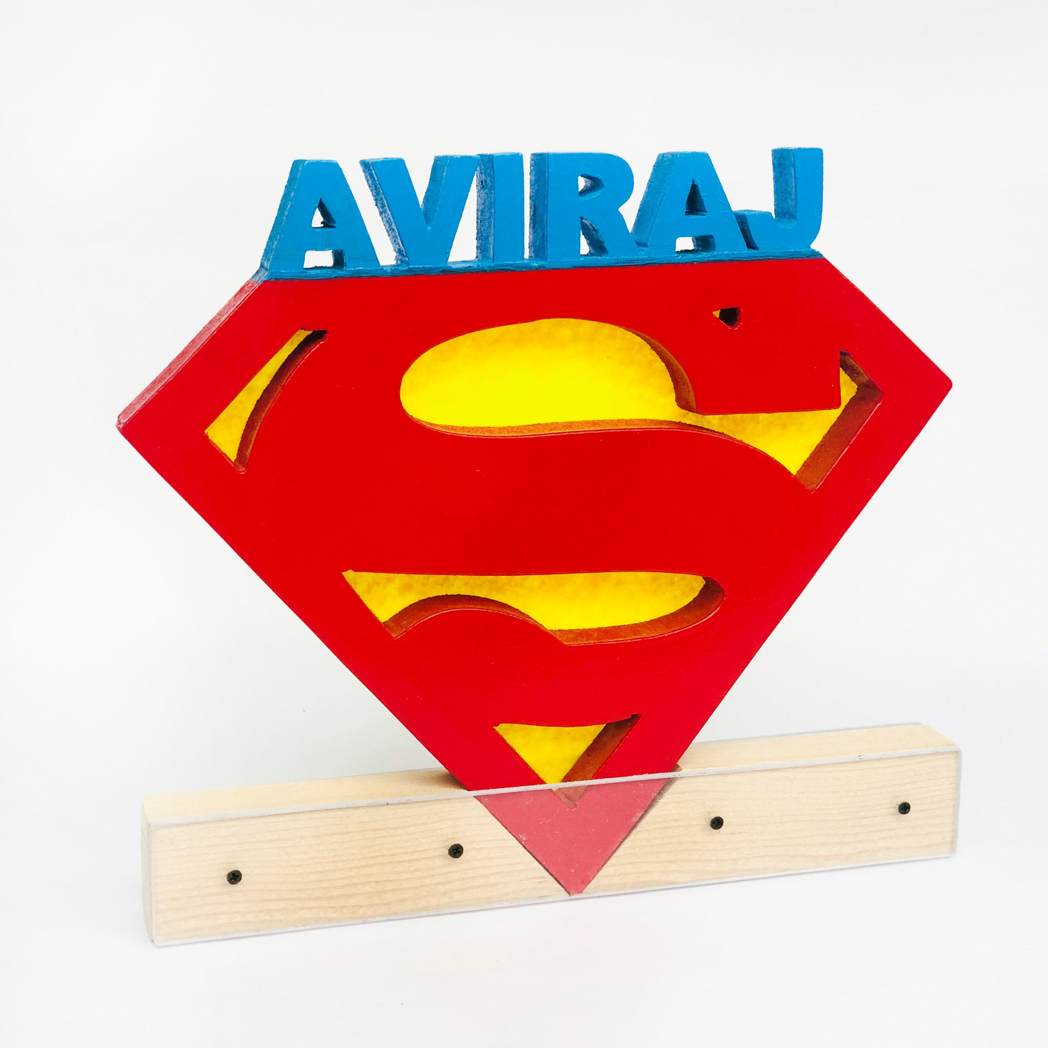 personalised superman nameplate for kids