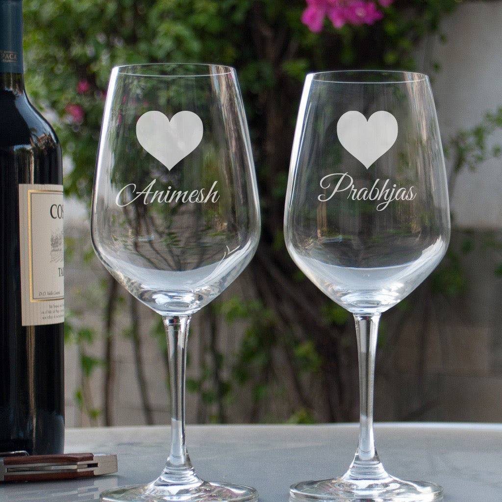 Gift these Personalised Etched Wine Glasses to someone special.