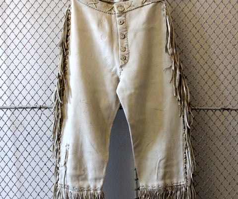 White Buckskin Pants with Antler Buttons