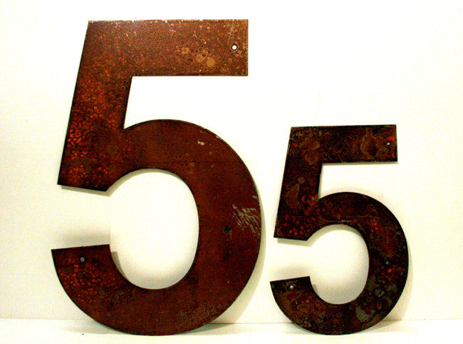 "Rusted Metal Number 5 12"" or 18"""