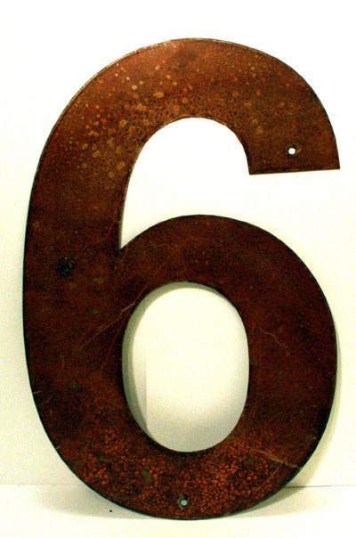 "Rusted Metal Number 6 12"" or 18"""