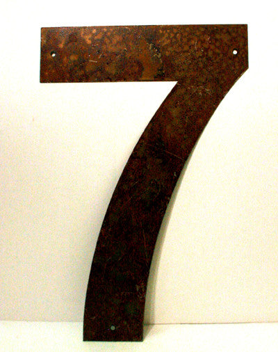 "Rusted Metal Number 7 12"" or 18"""
