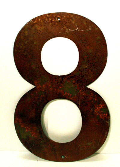 "Rusted Metal Number 8 12"" or 18"""
