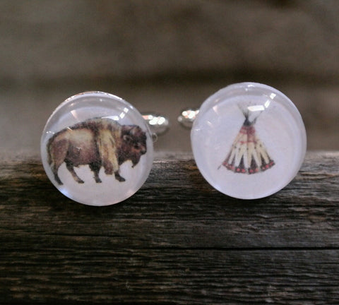 Buffalo + Tee Pee Cufflinks