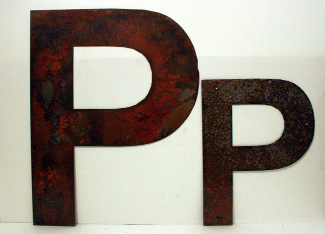 "Rusted Metal Letter P 12"" or 18"""