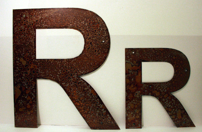"Rusted Metal Letter R 12"" or 18"""