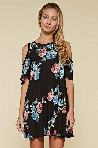 DRESS: Black Floral Cold Shoulder Dress