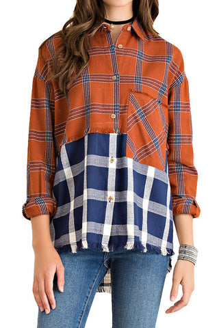 BLOUSE: Color Block Plaid Top